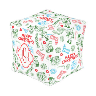 Monogramed Christmas Symbols Doodling Red & Green Pouf