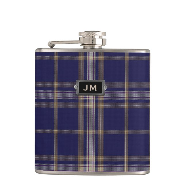 Monogramed Clan Baker Tartan Plaid Flask