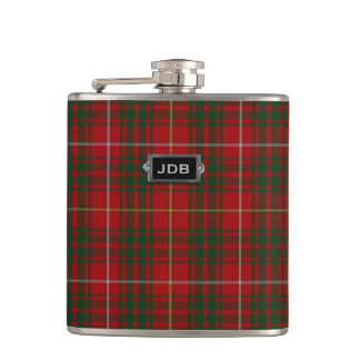 Monogramed Clan Bruce Tartan Plaid Flask
