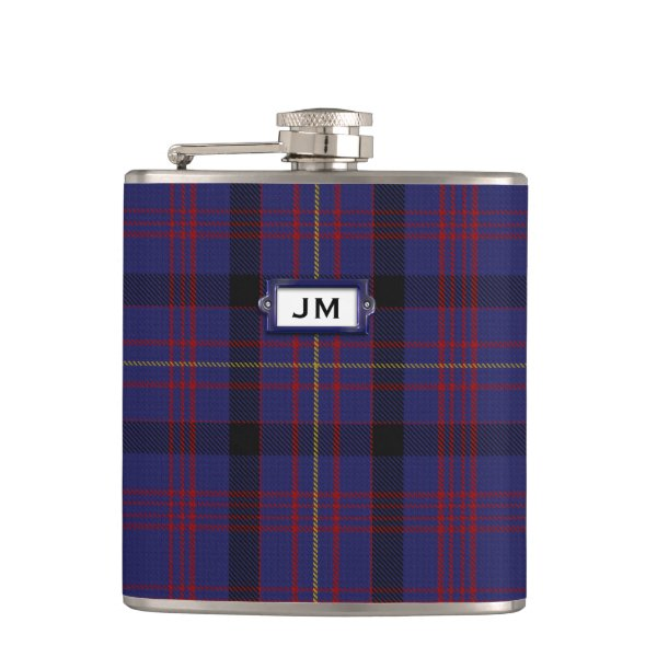 Monogramed Clan Dundonald Tartan Plaid Flask