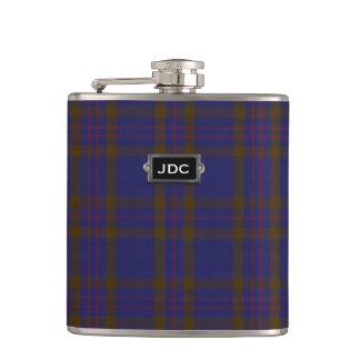 Monogramed Clan Elliot Tartan Plaid Flask