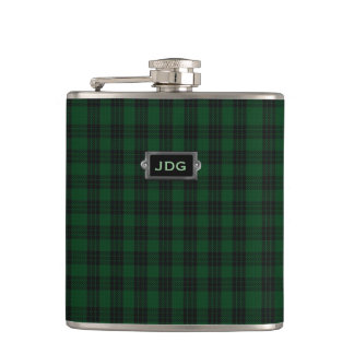 Monogramed Clan Graham Tartan Plaid Flask
