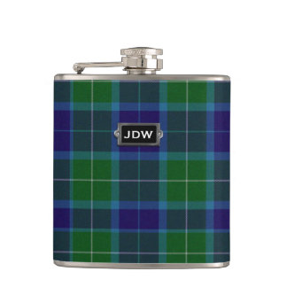 Monogramed Clan Wallace Tartan Plaid Flask