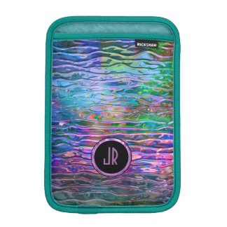 Monogramed Colorful Abstract Melting Glass Sleeve For iPad Mini