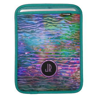 Monogramed Colorful Abstract Melting Glass Sleeves For iPads