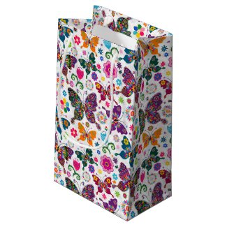 Monogramed Colorful Butterflies & Flowers Pattern Small Gift Bag