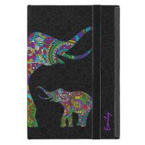 Monogramed Colorful Retro Flower Elephant 3 Design iPad Mini Case
