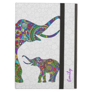 Monogramed Colorful Retro Flower Elephant 3c iPad Air Covers