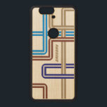 "Monogramed Colorful Retro Geometric Lines 2 Wood Nexus 6P Case<br><div class=""desc"">Elegant monogramed retro geometric line 2 in brown blue tones.</div>"