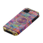 Monogramed Colorful Vintage Floral Collage iPhone 4/4S Cover