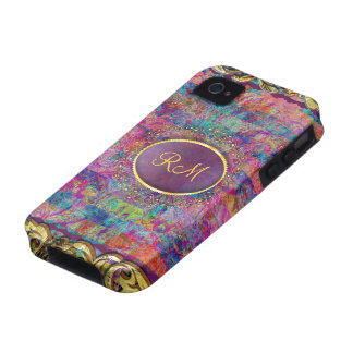 Monogramed Colorful Vintage Floral Collage iPhone 4 Covers
