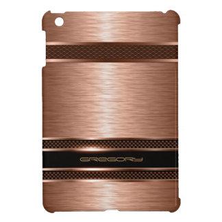 Monogramed Copper Metallic Brushed Aluminum Look Cover For The iPad Mini