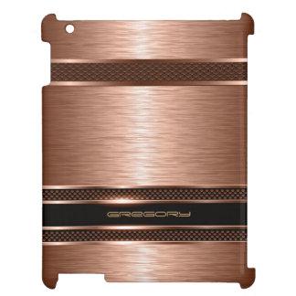 Monogramed Copper Metallic Brushed Aluminum Look iPad Cases