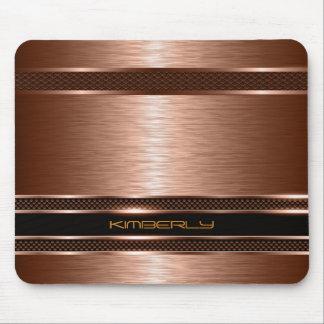 Monogramed Copper Metallic Brushed Aluminum Look Mouse Pad