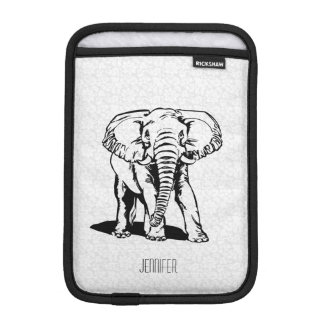 Monogramed Cute Black Elephant Line Drawing iPad Mini Sleeve
