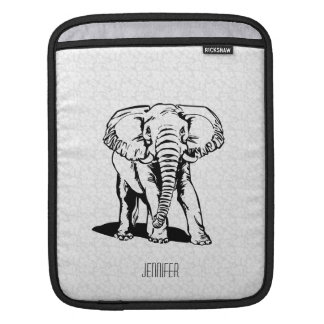Monogramed Cute Black Elephant Line Drawing iPad Sleeve