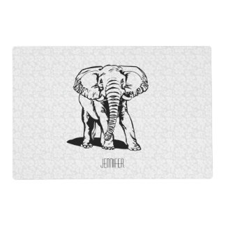 Monogramed Cute Black Elephant Line Drawing Placemat
