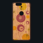 """Monogramed Cute Colorful Abstract Flowers Wood Nexus 6P Case<br><div class=""""desc"""">Cute and colorful abstract floral design over light cream background(on wood looks transparent). Yellow purple and green flowers</div>"""
