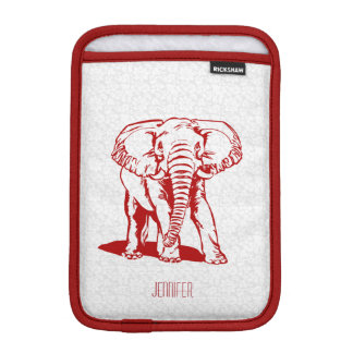 Monogramed Cute Dark Red Elephant Line Drawing iPad Mini Sleeve