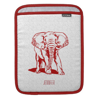 Monogramed Cute Dark Red Elephant Line Drawing iPad Sleeve