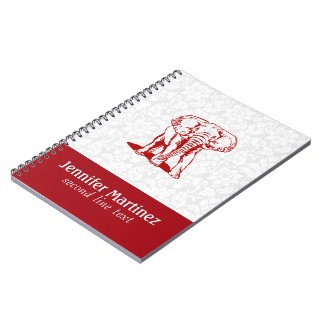 Monogramed Cute Dark Red Elephant Line Drawing