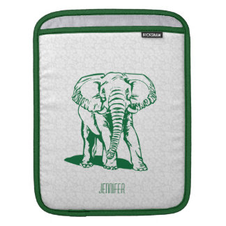Monogramed Cute Hunter Green Elephant Line Drawing iPad Sleeve