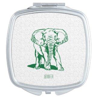 Monogramed Cute Hunter Green Elephant Line Drawing Travel Mirrors