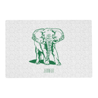 Monogramed Cute Hunter Green Elephant Line Drawing Placemat