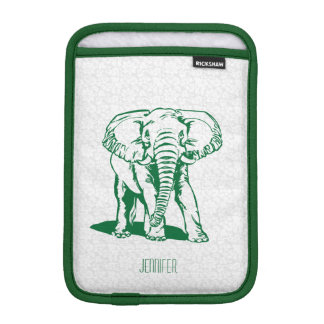Monogramed Cute Hunter Green Elephant Line Drawing Sleeve For iPad Mini