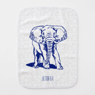 Monogramed Cute Navy Blue Elephant Line Drawing Burp Cloth