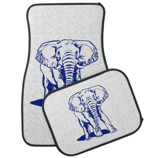 Line Art Floors : Monogramed cute navy blue elephant line drawing floor mat