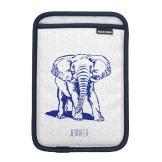 Monogramed Cute Navy Blue Elephant Line Drawing Sleeve For iPad Mini