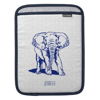 Monogramed Cute Navy Blue Elephant Line Drawing Sleeve For iPads