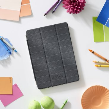 Beach Themed Monogramed Dark Gray Carbon Fiber Metallic Texture iPad Pro Cover