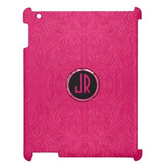 Monogramed Dark Pink Suede Leather Floral Design iPad Cover