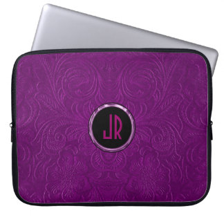 Monogramed Deep Purple Suede Leather Floral Design Computer Sleeve