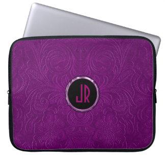 Monogramed Deep Purple Suede Leather Floral Design Computer Sleeves