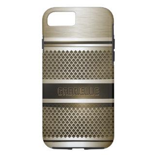 Monogramed deslustró la plata metalizada y el puré funda iPhone 7
