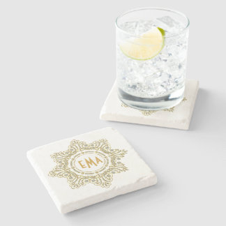 Monogramed Diamonds And Gold Floral Circle Frame Stone Beverage Coaster