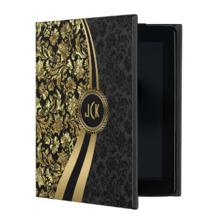 Monogramed Elegant Black & Gold Floral Damasks iPad Case