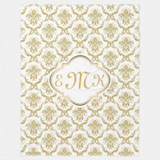 Monogramed Elegant White & Gold Floral Damasks Fleece Blanket