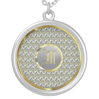 Monogramed Faux Diamonds, Gold & Steel Silver Plated Necklace