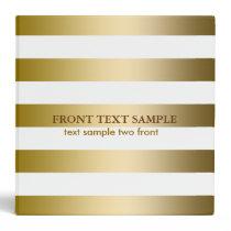 Monogramed Faux Gold Stripes Geometric Pattern Binder