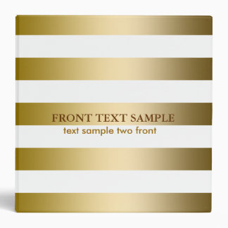 Monogramed Faux Gold Stripes Geometric Pattern 3 Ring Binders