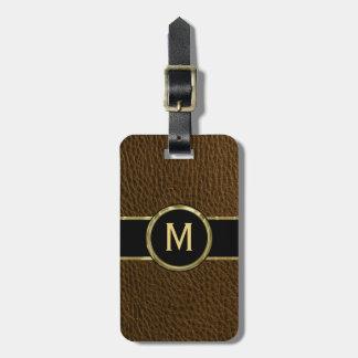 Monogramed Faux Leather Vintage look Luggage Tag