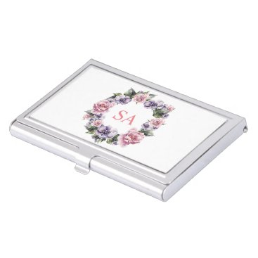 Professional Business Monogramed Garland of Flowers Business Card Holder
