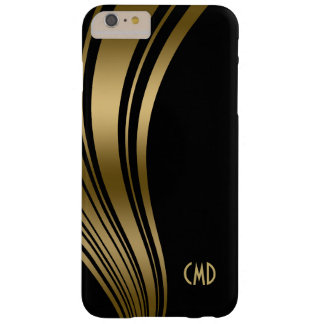 Monogramed Gold And Black Wavy Stripes 2c Barely There iPhone 6 Plus Case