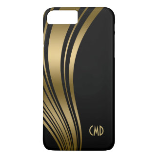 Monogramed Gold And Black Wavy Stripes 2c iPhone 7 Plus Case