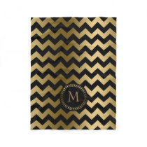 Monogramed Gold And Black Zigzag Chevron Fleece Blanket