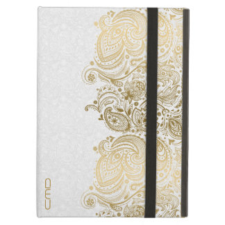 Monogramed Gold And White Floral Paisley Lace iPad Air Cases
